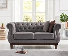 Henbury Chesterfield Grey Linen 2 Seater Sofa