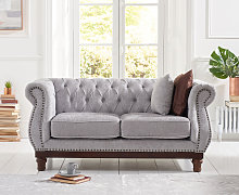 Henbury Chesterfield Grey Plush 2 Seater Sofa