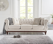Henbury Chesterfield Ivory linen 3 Seater Sofa