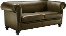Hench Genuine Leather 3 Seater Chesterfield Sofa