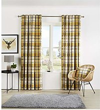 Hendem. Check Ring Top Curtains Cotton Rich