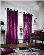 Hendem® CRUSHED VELVET Eyelet Curtains Pair Ring