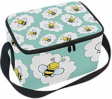 hengpai Doodle Yellow Bees Lunch Box Insulated