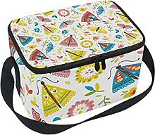 hengpai Pink Colorful Insects Flowers Lunch Box