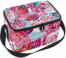 hengpai Red Flowers Lunch Box Insulated Lunch Bag