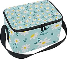 hengpai White Flower Lunch Box Insulated Lunch Bag