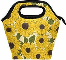 hengpai Yellow Sunflower Lunch Tote Bag Insulated