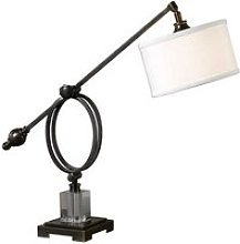 Henzler Table Lamp In White Linen With Dark Bronze