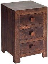 Henzler Wooden Bedside Cabinet In Dark With 3