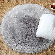 HEQUN Circular Faux Fur Sheepskin Style Rug Faux