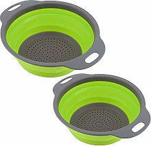 HERCHR 2Pcs Colander Collapsible Silicone, Kitchen