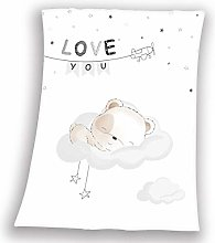 Herding Baby Blanket, Sleeping Little Bear Motif,