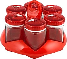 Herevin 6 Jar Spice 105 cc, Glass, Red, 18 x 18 x