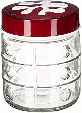 Herevin Embossed Canister, Set of 3, 1000ml, Red