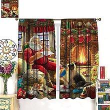 HERG Christmas Santa Curtains Window Curtains
