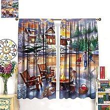 HERG Christmas Window Curtains Curtain Bedroom