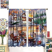 HERG Christmas Window Curtains Curtain Decoration