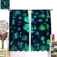 HERG Green Kids Blackout Curtain Watercolor Ocean