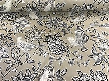 Heritage Doves/Birds Beige/Grey Cotton Curtain