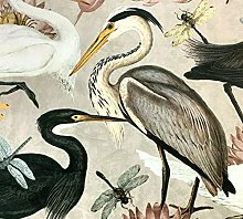 Herons Beige Velvet Fabric Sold by Meter Birds