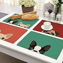 Herrdan (4pcs) dog Pattern Placemat Dining