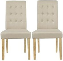 Heskin Dining Chair In Beige Linen Style Fabric in