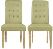 Heskin Dining Chair In Green Linen Style Fabric in