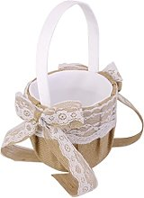 Hessian Burlap Wedding Flower Girl Basket with