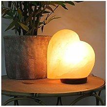 Hestia Heart Shaped Salt Lamp with Wooden Base