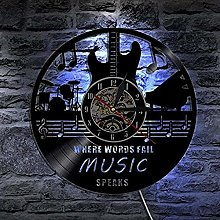 hetobea LED Wall Clock VinylMusic Guitar 3D