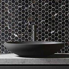 Hexagon Black Marquina Marble Mosaic Tiles Sheet