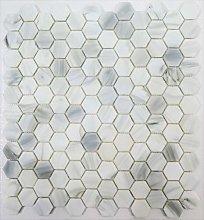 Hexagon White Carrara Effect Glass Mosaic Tiles