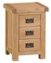 Hexham Oak 3 Drawer Bedside Cabinet Fully Assembled