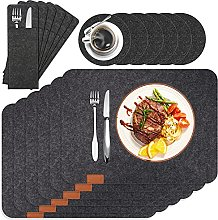 HEYOMART Felt Placemats with Coasters Cutlery Bags