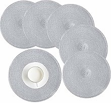 HEYOMART Place Mat, Round Woven Placemats Set of 6