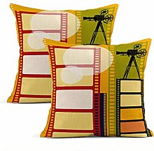 Heyqqo Set of 2 Cushion Covers Linen Abstract