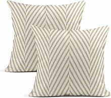 Heyqqo Set of 2 Cushion Covers Linen Beige Woven