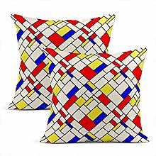 Heyqqo Set of 2 Cushion Covers Linen Blue Colorful