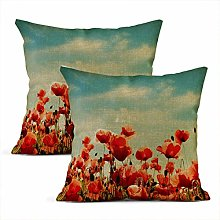 Heyqqo Set of 2 Cushion Covers Linen Brown Flower
