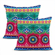 Heyqqo Set of 2 Cushion Covers Linen Indian