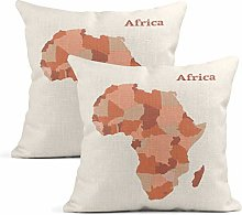 Heyqqo Set of 2 Cushion Covers Linen Map Africa