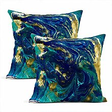 Heyqqo Set of 2 Cushion Covers Linen Marbled Blue