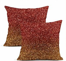 Heyqqo Set of 2 Cushion Covers Linen Red Orange