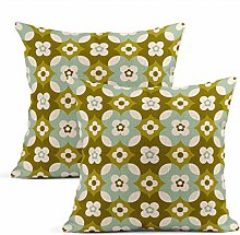 Heyqqo Set of 2 Cushion Covers Linen Seventies