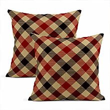 Heyqqo Set of 2 Cushion Covers Linen Tartan Red