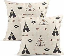 Heyqqo Set of 2 Cushion Covers Linen Teepee Tepee