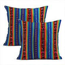 Heyqqo Set of 2 Cushion Covers Linen Wooven Wool