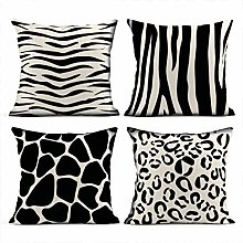 Heyqqo Set of 4 Cushion Covers Linen Assorted