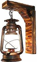 HEZHANG Chinese Rustic Antique Kerosene Wall Lamp