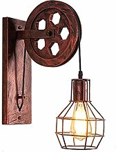 HEZHANG Pulley Wrought Iron Wall Lamp Led Antique